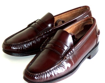 Men's 8.5 FLORSHEIM Loafers Penny Full grain Leather Hand Sewn Brown Oxblood Refurbished Shoes Excellent Condition