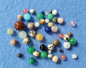 Round Gemstone Bead Mix, Colorful Destash Assortment, chakra gemstone mix, round bead assortment, bead destash
