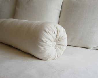 8 x 20 bolster/daybed pillow in ivory cotton duck