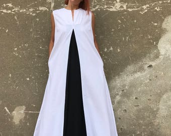 White Linen Dress, Plus Size Linen Dress, Linen Dress, White Kaftan, Avant Garde Linen, Plus Size Dress, Casual Dress, Black And White Dress
