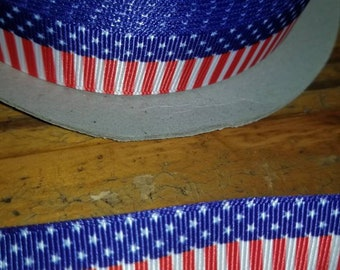 Red, white, and blue ribbon, Patriotic,  Americana, 4th of July grosgrain ribbon  7/8 wide