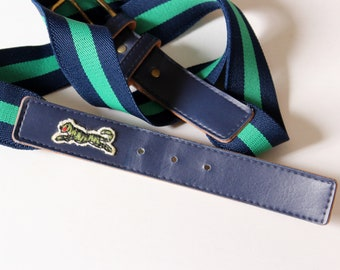 """vintage 80s Le Tigre belt, elastic stretch navy blue and green - fits 36"""" to 44"""""""