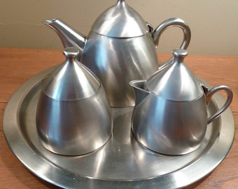 MCM brushed stainless steel coffee pot, sugar bowl, creamer and serving tray