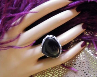 Large, Bold and Chunky Onyx and Sterling Silver Statement Ring.
