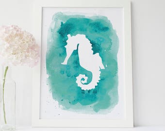 Seahorse Print, Seahorse Wall Decor, Aqua Print, Sea Horse Artwork, Teal Printable, Digital Download, Turquoise Art Print, Beach House Art