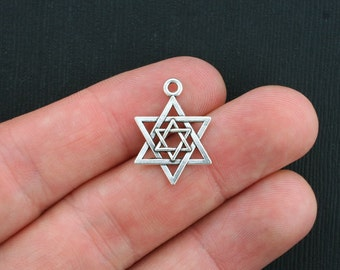 10 Star of David Charms Antique Silver Tone - SC3464