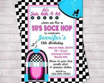 "50's Sock Hop Invitation Pink and Blue | Printable 5"" x 7"" 