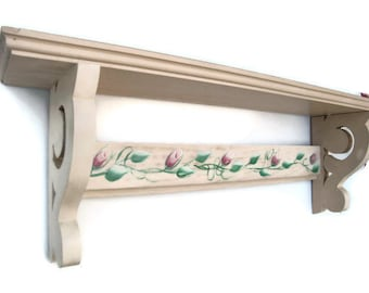 Decorative Rose Buds Country Chic Shelf-Wood Shelf-Rose Lovers Beautiful Gift For Mom, Birthday, Anniversary