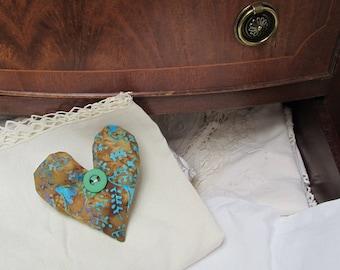 Batik heart shaped lavender filled sachet with button detail