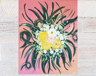 """Summery acrylic impressionistic floral bouquet on canvas//Flower art//""""The bouquet"""" 40 x 50 cm on canvas"""