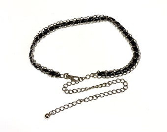 Vintage Silver Chain Belt with Black PU Leather, Swivel Lobster Clasp, Festival Chain Belt  itsyourcountry