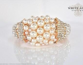 Pearl Crystal Wedding Bracelet Gold Bangle Bracelet Bridal Bracelet