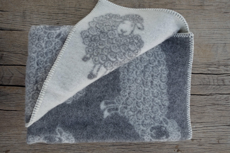 Natürliche Wolle Baby Decke 90x130cm Wolle mit Schafen reine