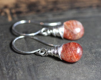 Sunstone Earrings Silver Wire Wrapped Briolette Orange Gemstone Rustic Jewelry