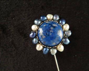 "brooch pin with cabochon lapis lazuli ""Sun"""