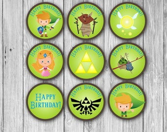 Legend of Zelda Cupcake Toppers (3 Background choices - Digital)