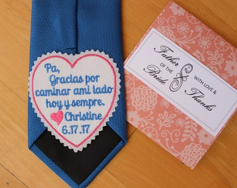 Padre tie patch, gracias caminar ami lado hoy y sempre, heart tie label, Gift for Padre, Espanol, Spanish. iron-on available, S10