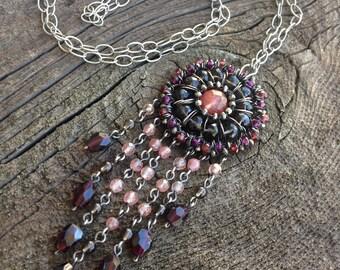 Collier pierre naturelle - en argent Sterling grenat, Quartz, Pyrite - bonneterie collier - Mandala - Dreamcatcher - bijouterie moderne