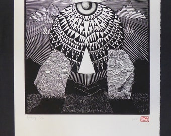 Avebury | Original handmade linocut print | Black and white | Abstract geometric landscape | Limited edition art