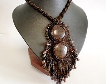 Bronzite Necklace, Pearl Necklace, Unique Necklace, Beadwork Necklace, Brown Necklace, OOAK Bead Embroidered