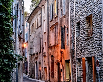 French street at dusk, South of France/  French Village/ Medieval Village Street / Travel Photo
