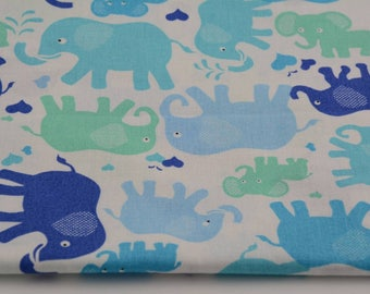 Fabric 100% cotton half a metre (50 x 160 cm), turquoise elephants on white background