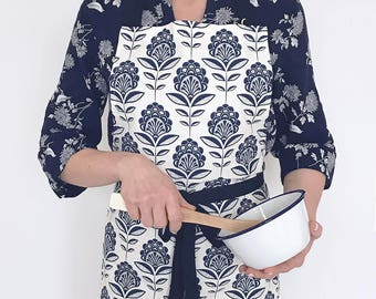 Peacock flower print kitchen apron - cotton chef apron with navy blue print
