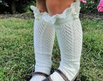 Childrens Boot Socks with Lace and Pearls Knee High Boot Socks Skirt Socks Dress Socks Little Girl Gift Idea Photo Shoot Accessory