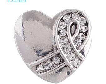 12mm Rhinestone & Silver Heart Charm