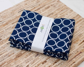 Large Cloth Napkins - Set of 4 - (N316) - Navy Circles Modern Reusable Fabric Napkins