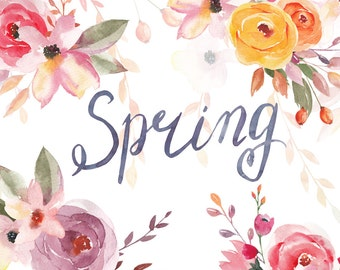 Spring Flowers. Watercolor Floral Cliparts.