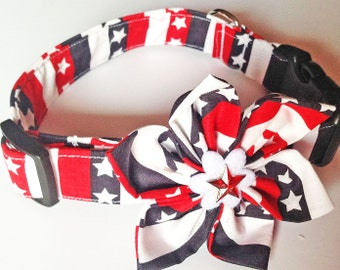Stars and Stripes Patriotic Flower Collar for Girl Dogs and Cats- Red, White and Blue