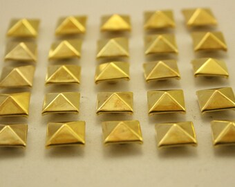 50 pcs.Dark Gold Pyramid Double Cap Rivet Studs Leathercraft Decorations Findings 10 mm. (2 Sides) KPG102