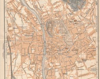 1905 Graz Austria Antique Map