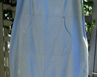 Fab Summer Sundress/ Blue Check Cotton-Spandex Dress/ Cool Plisse Jumper-dress/Shabbyfab Funwear