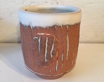 Brown Cup with Incised Stripes and Fingers Medallion