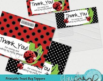 Ladybug in Red Printable Treat Bag Topper - 300 DPI