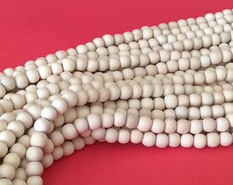 """Dica wood 4mm round, natural wood beads, dica wood beads 4mm 16"""" strand"""