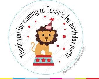 Lion Circus stickers, Cute Circus Party Personalized stickers, PRINTED round Stickers, tags, Labels or Envelope Seals  A1101
