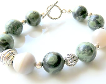 Kambaba Jasper Druzy Bracelet, Forest Green Beaded Bracelet,  Sterling Silver, Woodland Jewelry, Bohemian, Toggle Clasp