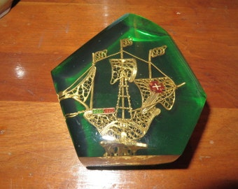 lucite green paperweight from portugal