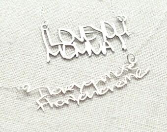 Custom Handwriting Jewelry - Handwriting Necklace - Cut Out Handwriting - Children's Handwriting