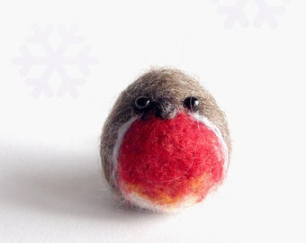 Felted bird, Needle felted Robin bird, hanging Christmas decoration