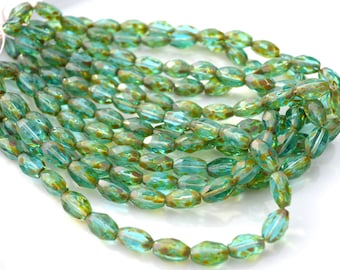 Aqua Picasso 10x5mm Faceted Fire Polish Oval Czech Glass Beads  25