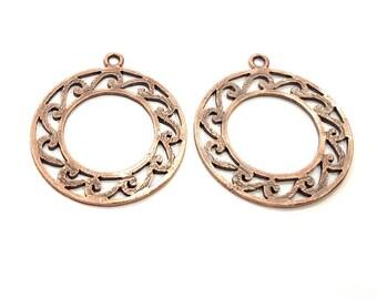 2 Copper Pendant Antique Copper Pendant Antique Copper Plated Metal (36mm) G11542