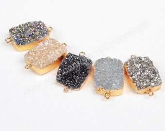 1Pcs Rectangle Gold Plated Natural Titanium Agate Druzy Connector Double Bails 20x15mm Drusy Gemstone Charm For DIY Making Jewelry G0772
