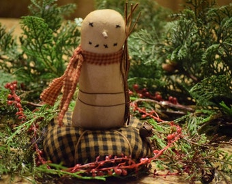 Primitive Handmade Snowman Pinkeep ~ Winter