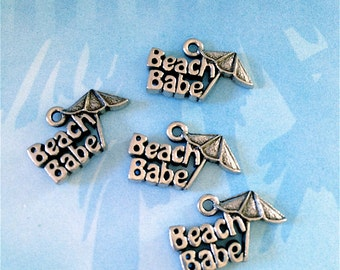 Beach Babe with Umbrella Charms ---4 pieces-(Antique Pewter Silver Finish)--style 788--