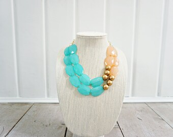 Turquoise, Gold, and Peach Acrylic Bead Statement Necklace
