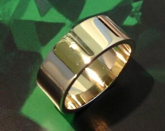 8mm Mens 9ct Yellow Gold Flat Shape Handmade Wedding Ring / Band / 9.4g